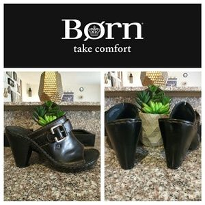Born 100% Leather Heeled Peep Toe Mules/Clogs